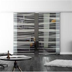 Levidor SoftClose-Schiebetür ProfiSlide Stufen-Design Zwei Glasscheiben
