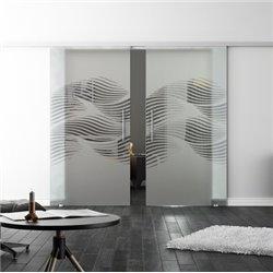 Levidor SoftClose-Schiebetür ProfiSlide Luft-Design Zwei Glasscheiben