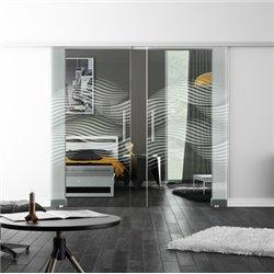 Levidor SoftClose-Schiebetür ProfiSlide Luft-Design invers Zwei Glasscheiben