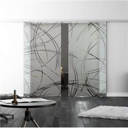 Levidor SoftClose-Schiebetür ProfiSlide Kurven-Design (2) Zwei Glasscheiben