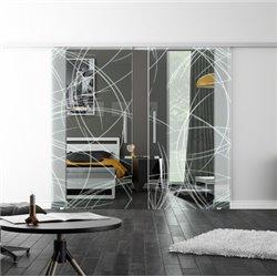 Levidor SoftClose-Schiebetür ProfiSlide Kurven-Design invers (2) Zwei Glasscheiben