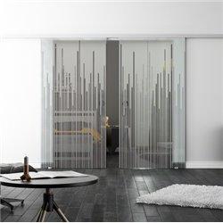 Levidor SoftClose-Schiebetür ProfiSlide Strich-Design Zwei Glasscheiben