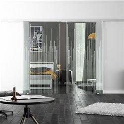 Levidor SoftClose-Schiebetür ProfiSlide Strich-Design invers Zwei Glasscheiben