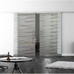 Levidor SoftClose-Schiebetür ProfiSlide Flügel-Design Zwei Glasscheiben
