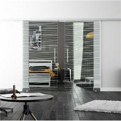 Levidor SoftClose-Schiebetür ProfiSlide Flügel-Design invers Zwei Glasscheiben