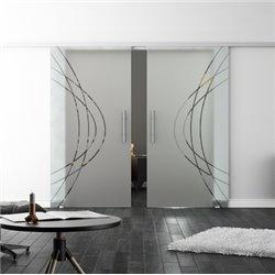 Levidor SoftClose-Schiebetür ProfiSlide Ellipsen-Design Modern Zwei Glasscheiben