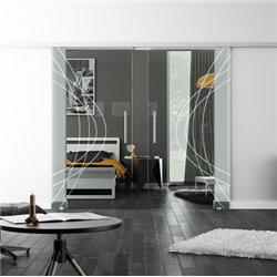 Levidor SoftClose-Schiebetür ProfiSlide Ellipsen-Design Modern invers Zwei Glasscheiben
