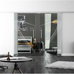Levidor SoftClose-Schiebetür ProfiSlide Speed-Design invers Modern Zwei Glasscheiben