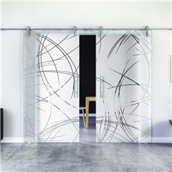 Kurven-Design (2) Glasschiebetür Edelstahlbeschlag mit offenen Laufrollen LEVIDOR - 2 Scheiben