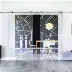 Kurven-Design invers (2) Glasschiebetür Edelstahlbeschlag mit offenen Laufrollen LEVIDOR - 2 Scheiben