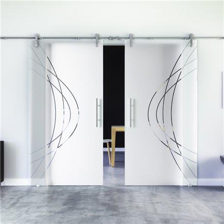 Ellipsen-Design modern Glasschiebetür Edelstahlbeschlag mit offenen Laufrollen LEVIDOR - 2 Scheiben