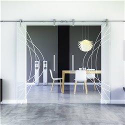 Ellipsen-Design invers modern Glasschiebetür Edelstahlbeschlag mit offenen Laufrollen LEVIDOR - 2 Scheiben