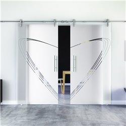 Speed-Design modern Glasschiebetür Edelstahlbeschlag mit offenen Laufrollen LEVIDOR - 2 Scheiben