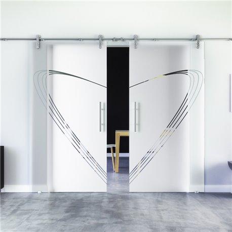 Speed-Design invers modern Glasschiebetür Edelstahlbeschlag mit offenen Laufrollen LEVIDOR - 2 Scheiben