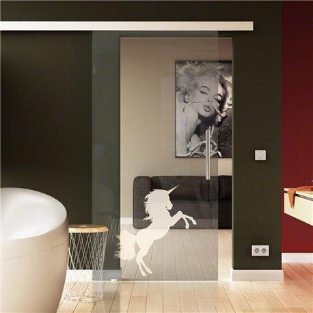 Tür aus Glas zum Schieben in Sonderdesign Einhorn invers - Kinderzimmer