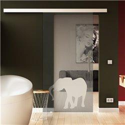 Glasschiebetür Elefanten-Design invers neu komplett hochwertig