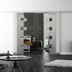 Levidor SoftClose-Schiebetür ProfiSlide Würfel-Design (W) 2 Glasscheiben