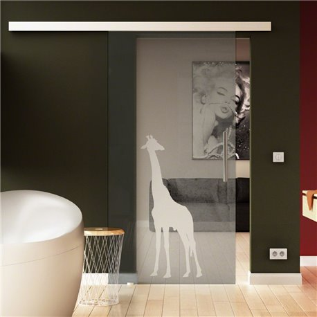 Glasschiebetür Sonderdesign Giraffen-Design invers Komplettset