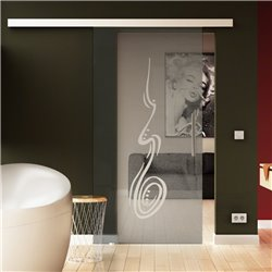 Glasschiebetür Handzeichnung-Design invers - Schiebe Tür Glas mit SoftClose beidseitig optional