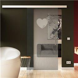 Glasschiebetür Herz-Design invers Schlafzimmer hochwertig SoftClose