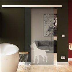 Glasschiebetür Basic-Beschlag Levidor Hund - Design (2) invers satiniert