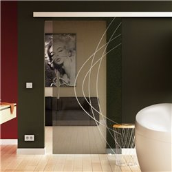 Schiebetür Glas Komplettset Softclose 1025 / 900 / 775 mm Breite Ellipsen-Design modern invers