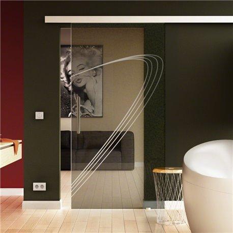 Schiebetür Glas Komplettset Softclose 1025 / 900 / 775 mm Breite Speed-Design modern invers