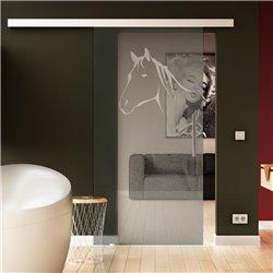 Tür aus Glas zum Schieben in Sonderdesign Pferdefkopf invers - Kinderzimmer