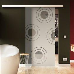 Schiebetür Glas Komplettset Softclose 1025 / 900 / 775 mm Breite Kreise-Design modern