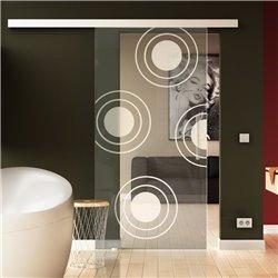 Schiebetür Glas Komplettset Softclose 1025 / 900 / 775 mm Breite Kreise-Design invers modern