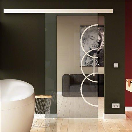 Schiebetür Glas Komplettset Softclose 1025 / 900 / 775 mm Breite Kreise-Design (2) invers modern