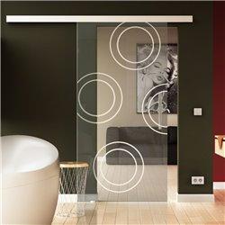 Schiebetür Glas Komplettset Softclose 1025 / 900 / 775 mm Breite Kreise-Design invers (4) modern