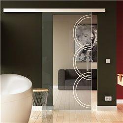 Schiebetür Glas Komplettset Softclose 1025 / 900 / 775 mm Breite Kreise-Design invers (5) modern