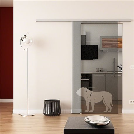 Dorma Muto 60 Glasschiebetür Hunde-Design invers
