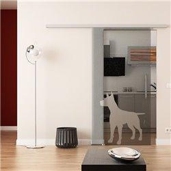 Dorma Muto 60 Glasschiebetür Hunde-Design invers (2)