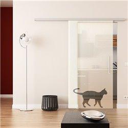 Dorma Muto 60 Glasschiebetür Katzen-Design