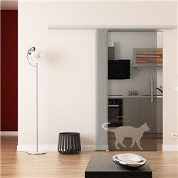 Dorma Muto 60 Glasschiebetür Katzen-Design invers