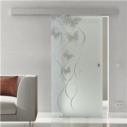 Glasschiebetür Sonderdesign Schmetterling-Design Komplettset