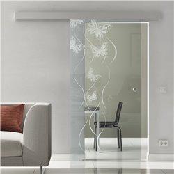 Glasschiebetür Sonderdesign Schmetterling-Design invers Komplettset