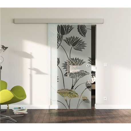 Glasschiebetür Glas Komplettset Softclose 1025 / 900 / 775 mm Breite Lotus-Blüten