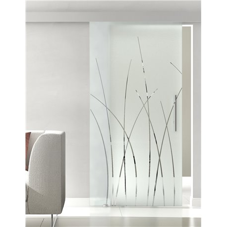 Glasschiebetür Glas Komplettset Softclose 1025 / 900 / 775 mm Breite Kraut-Design (2)