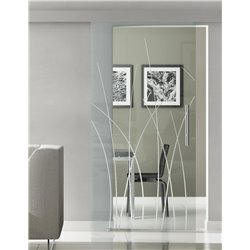 Glasschiebetür Glas Komplettset Softclose 1025 / 900 / 775 mm Breite Kraut-Design invers (2)