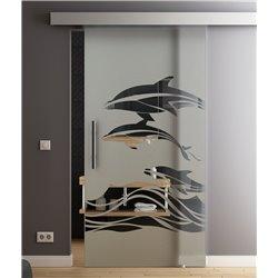 Glasschiebetür Sonderdesign Delphin-Design Komplettset