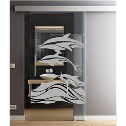 Glasschiebetür Sonderdesign Delphin-Design invers Komplettset