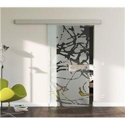 Schiebetür Glas Komplettset Softclose 1025 / 900 / 775 mm Breite Splash-Design modern