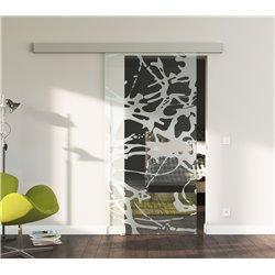 Schiebetür Glas Komplettset Softclose 1025 / 900 / 775 mm Breite Splash-Design invers modern
