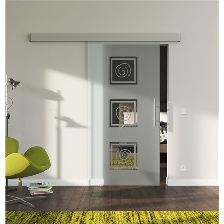 Schiebetür Glas Komplettset Softclose 1025 / 900 / 775 mm Breite LebensLinie-Design modern