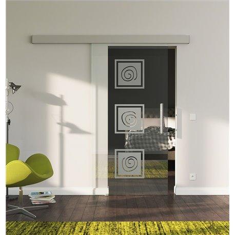 Schiebetür Glas Komplettset Softclose 1025 / 900 / 775 mm Breite LebensLinie-Design invers modern