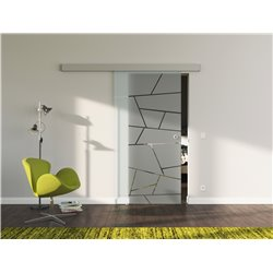 Schiebetür Glas Komplettset Softclose 1025 / 900 / 775 mm Breite Design schräge Linien