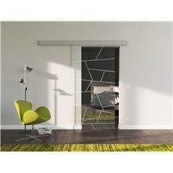 Schiebetür Glas Komplettset Softclose 1025 / 900 / 775 mm Breite Design schräge Linien invers